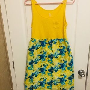 Gap dress yellow with blue flowers girls size med